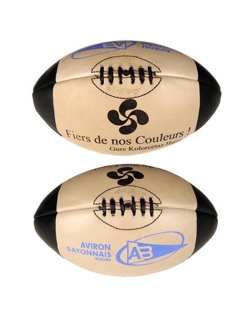 Ballon cuir vintage taille 5 accessoires aviron bayonnais rugby - Ballon de rugby cuir ...